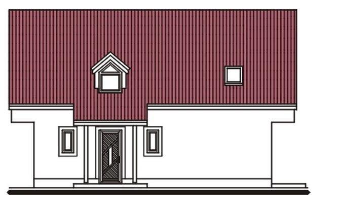Pohľad 1. - Užší poschodový dom s izbou na prízemí