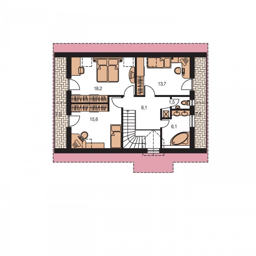 Pôdorys Poschodia - Užší poschodový dom s izbou na prízemí
