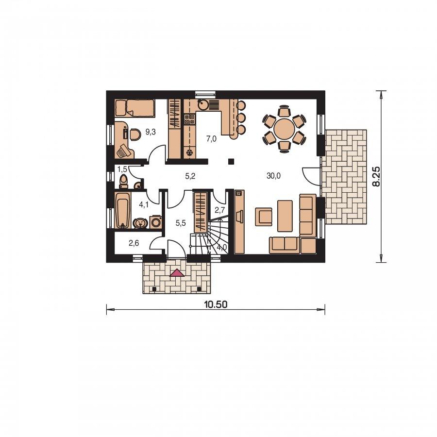 Pôdorys Prízemia - Užší poschodový dom s izbou na prízemí