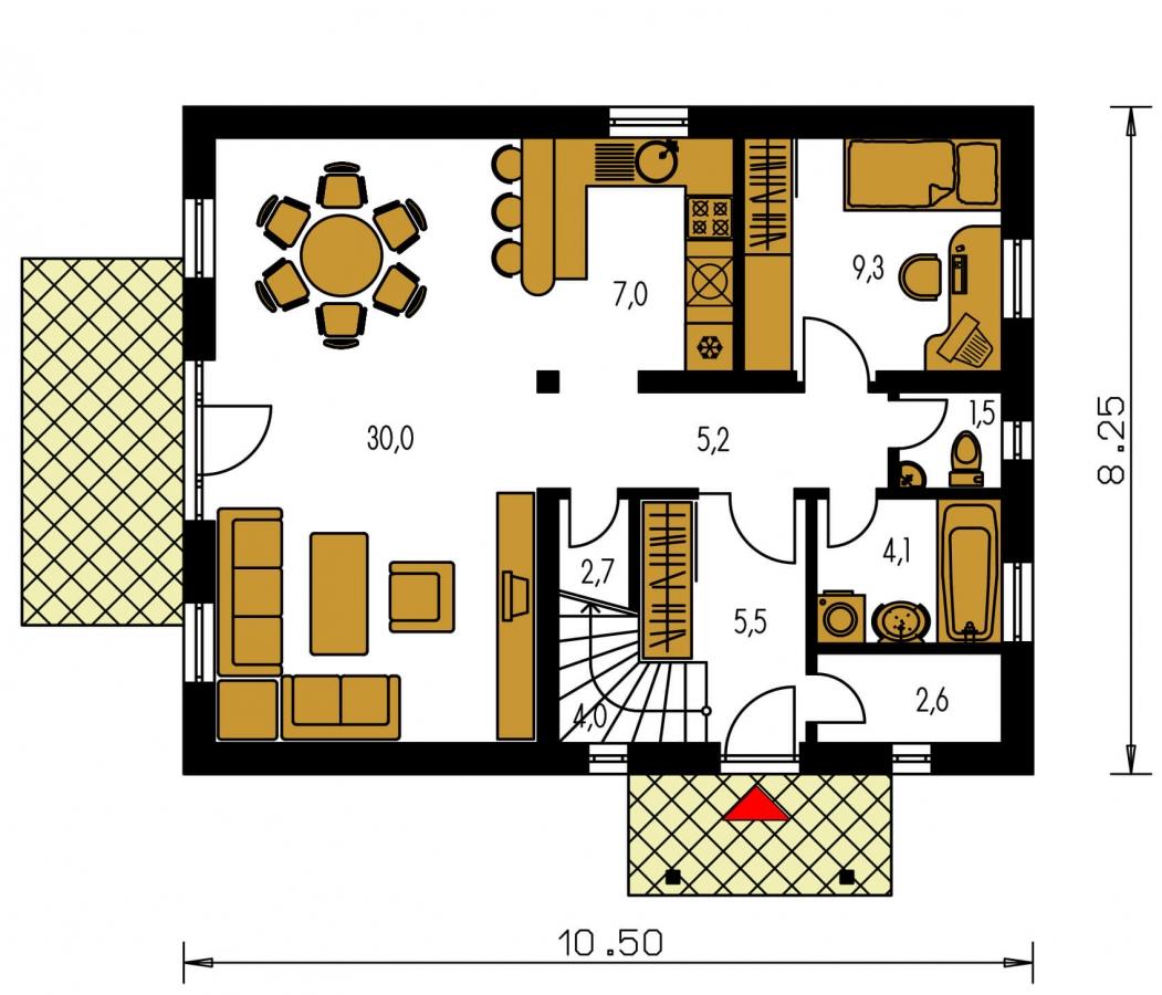 Pôdorys Prízemia - Užší poschodový dom s izbou na prízemí.