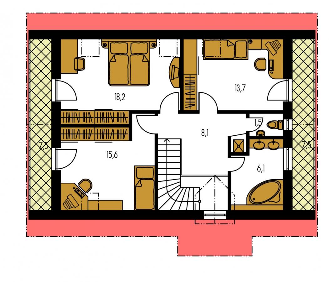 Pôdorys Poschodia - Užší poschodový dom s izbou na prízemí.