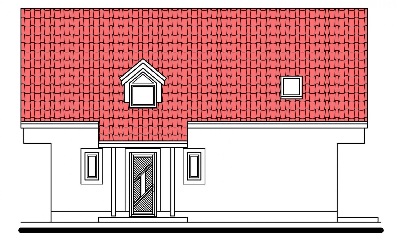 Pohľad 1. - Užší poschodový dom s izbou na prízemí.