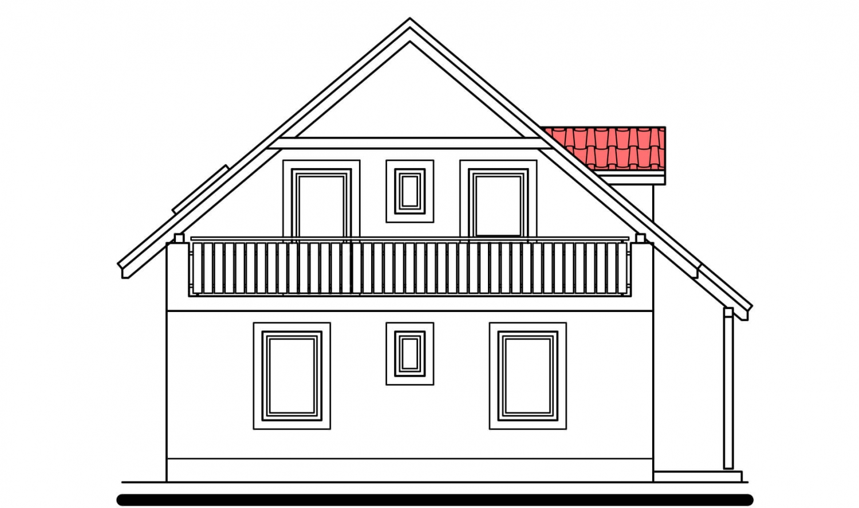 Pohľad 2. - Užší poschodový dom s izbou na prízemí.