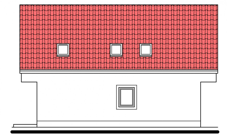 Pohľad 3. - Užší poschodový dom s izbou na prízemí.