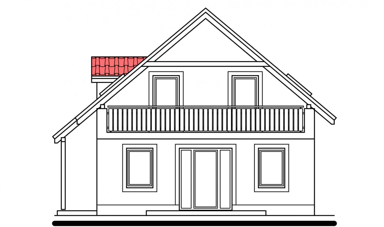 Pohľad 4. - Užší poschodový dom s izbou na prízemí.