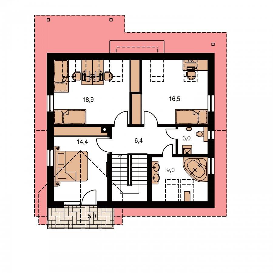 Pôdorys Poschodia - Prekrásny dom s garážou