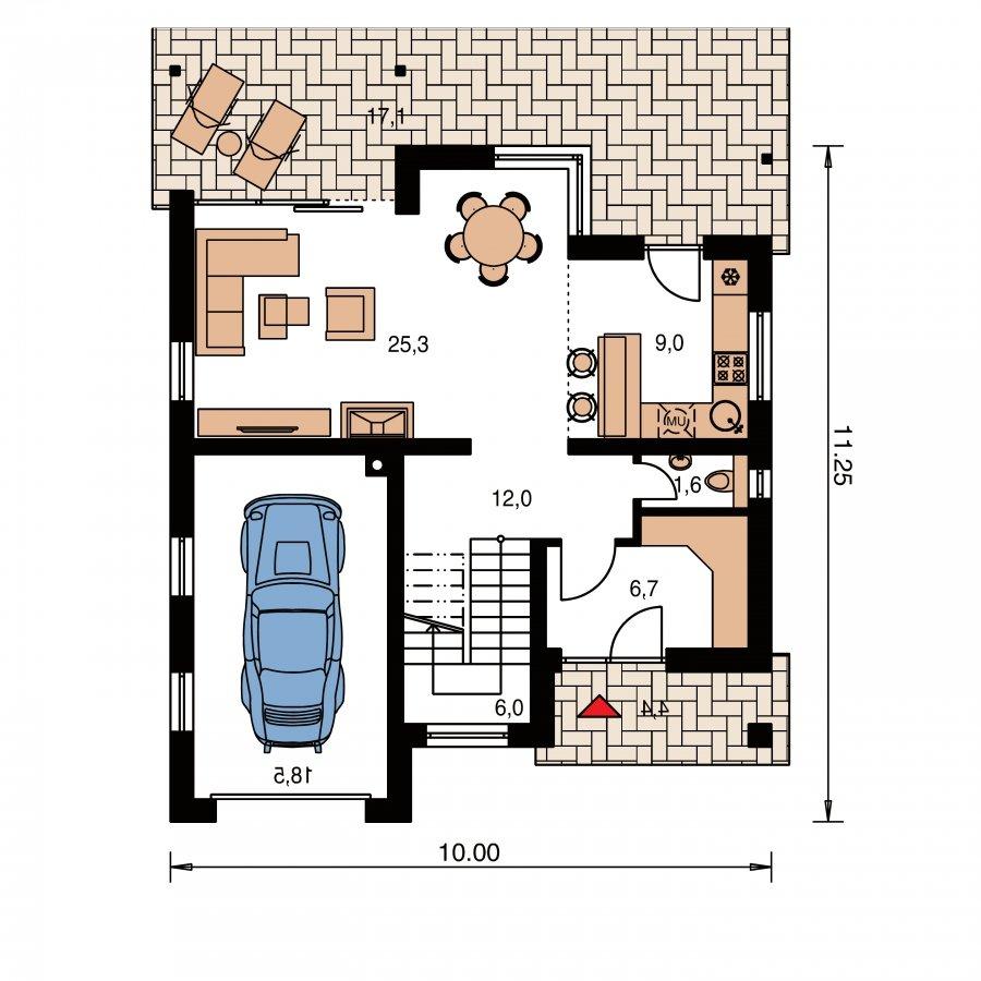 Pôdorys Prízemia - Prekrásny dom s garážou