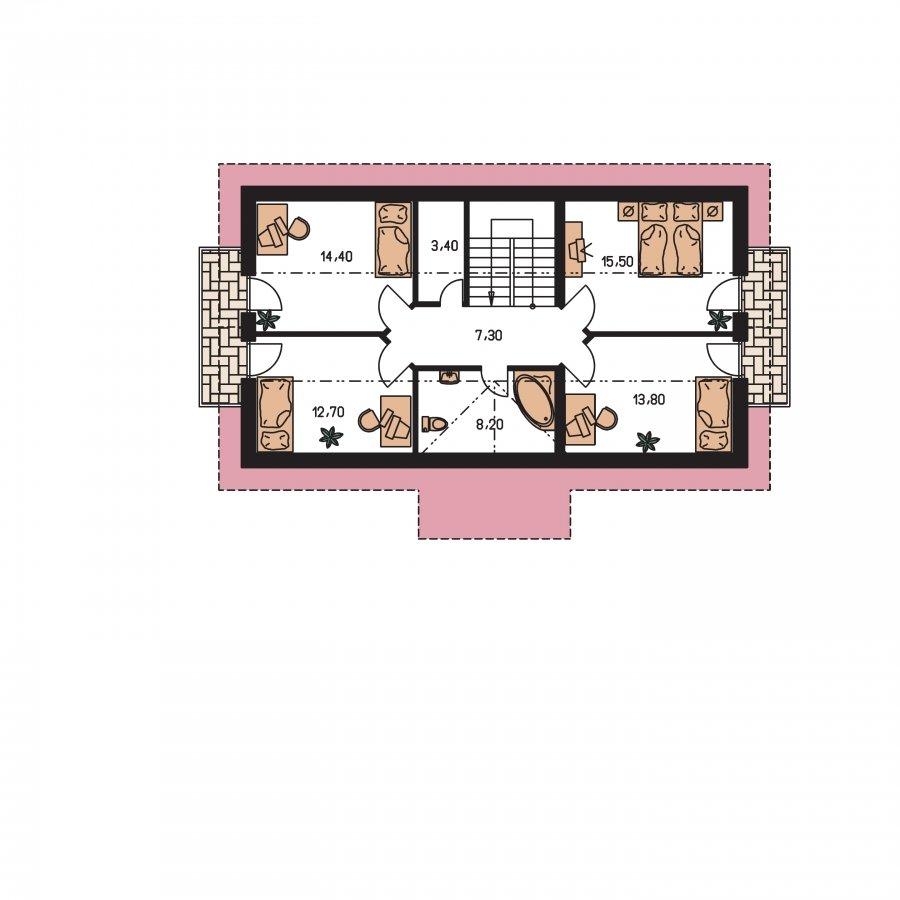 Pôdorys Poschodia - Dom vhodný aj na užší pozemok