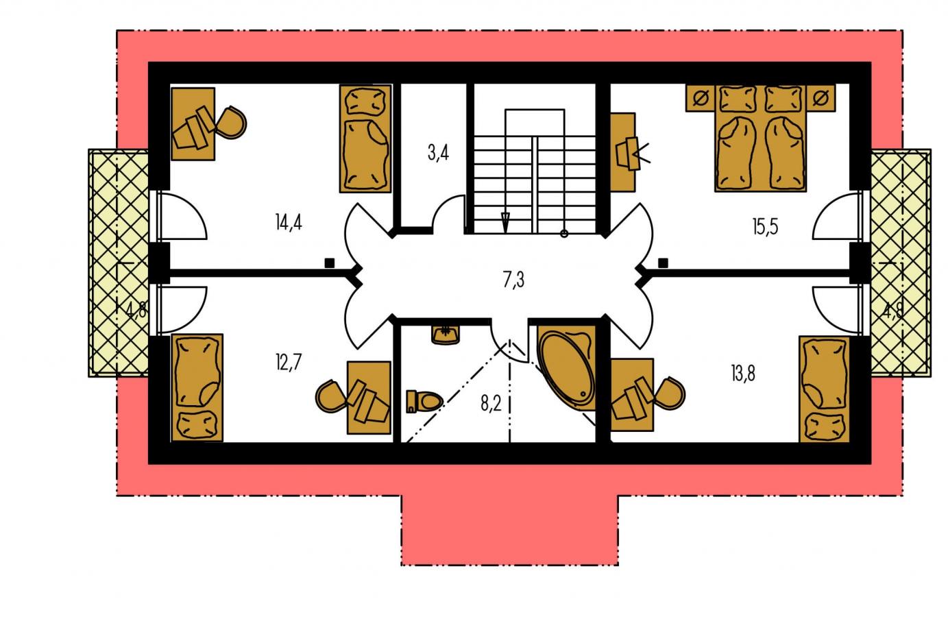 Pôdorys Poschodia - Dom vhodný aj na užší pozemok.
