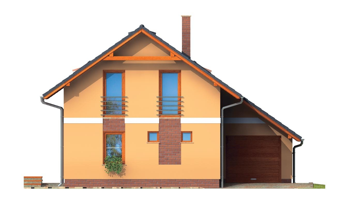 Pohľad 1. - Realizácia bez garáže je vhodný na úzky pozemok.