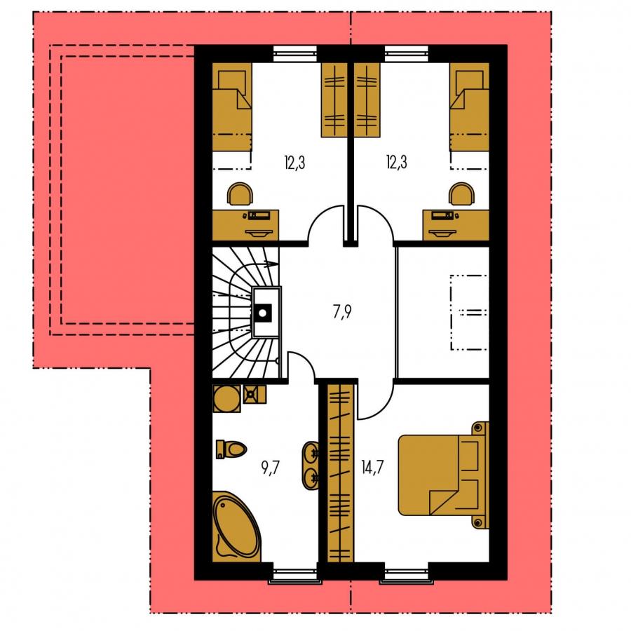 Pôdorys Poschodia - Realizácia bez garáže je vhodný na úzky pozemok.