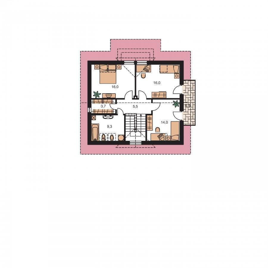 Pôdorys Poschodia - Zaujimavý pedkrovný dom s izbou na prízemí