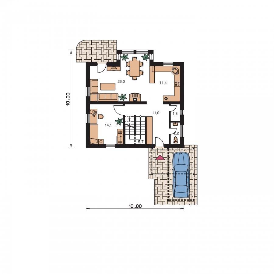 Pôdorys Prízemia - Zaujimavý pedkrovný dom s izbou na prízemí