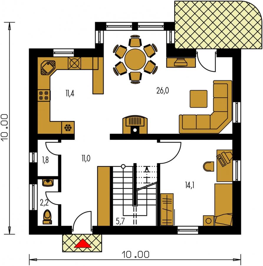 Pôdorys Prízemia - Zaujimavý pedkrovný dom s izbou na prízemí.