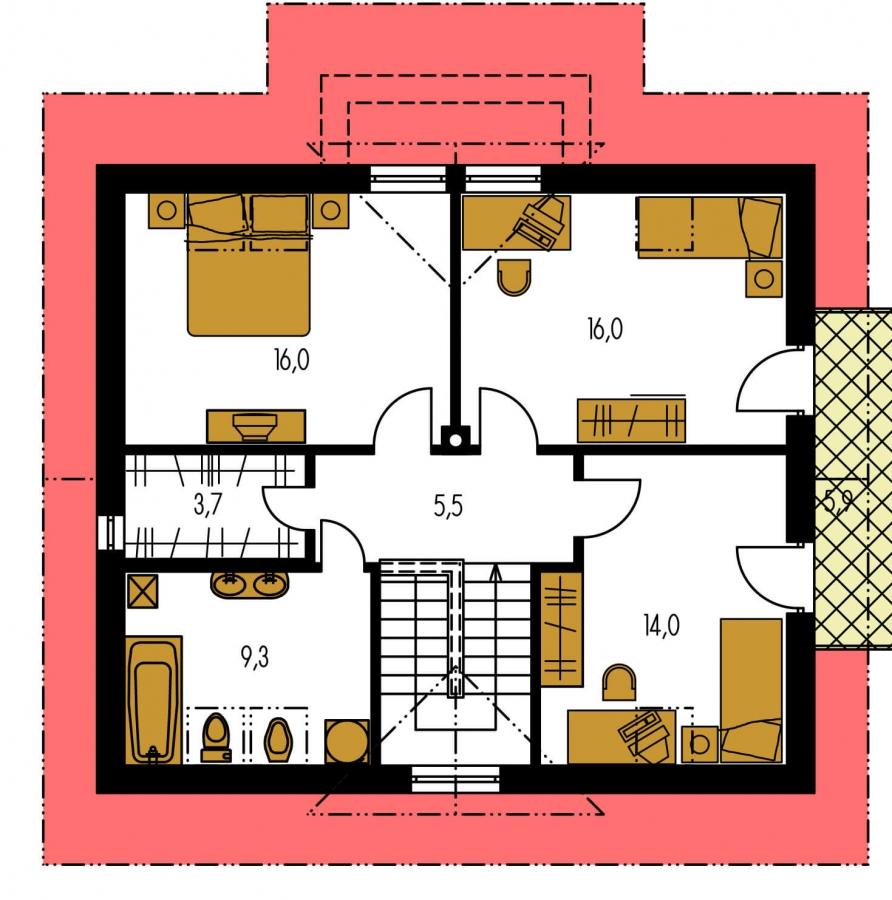 Pôdorys Poschodia - Zaujimavý pedkrovný dom s izbou na prízemí.