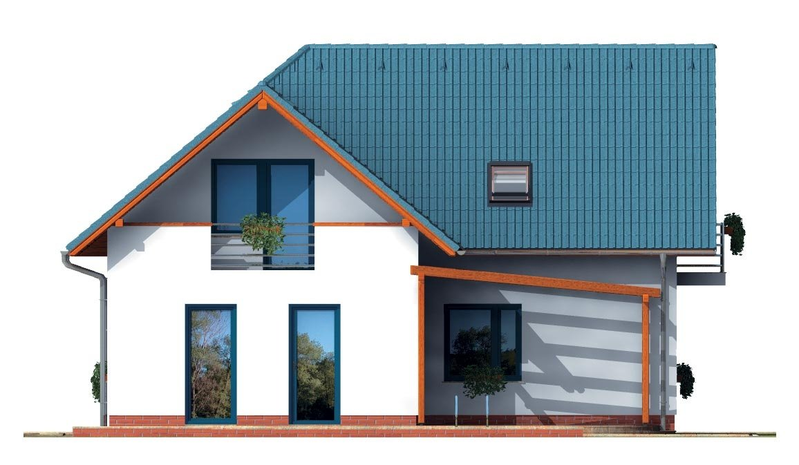 Pohľad 1. - Poschodový dom do tvaru L so sedlovými strechami