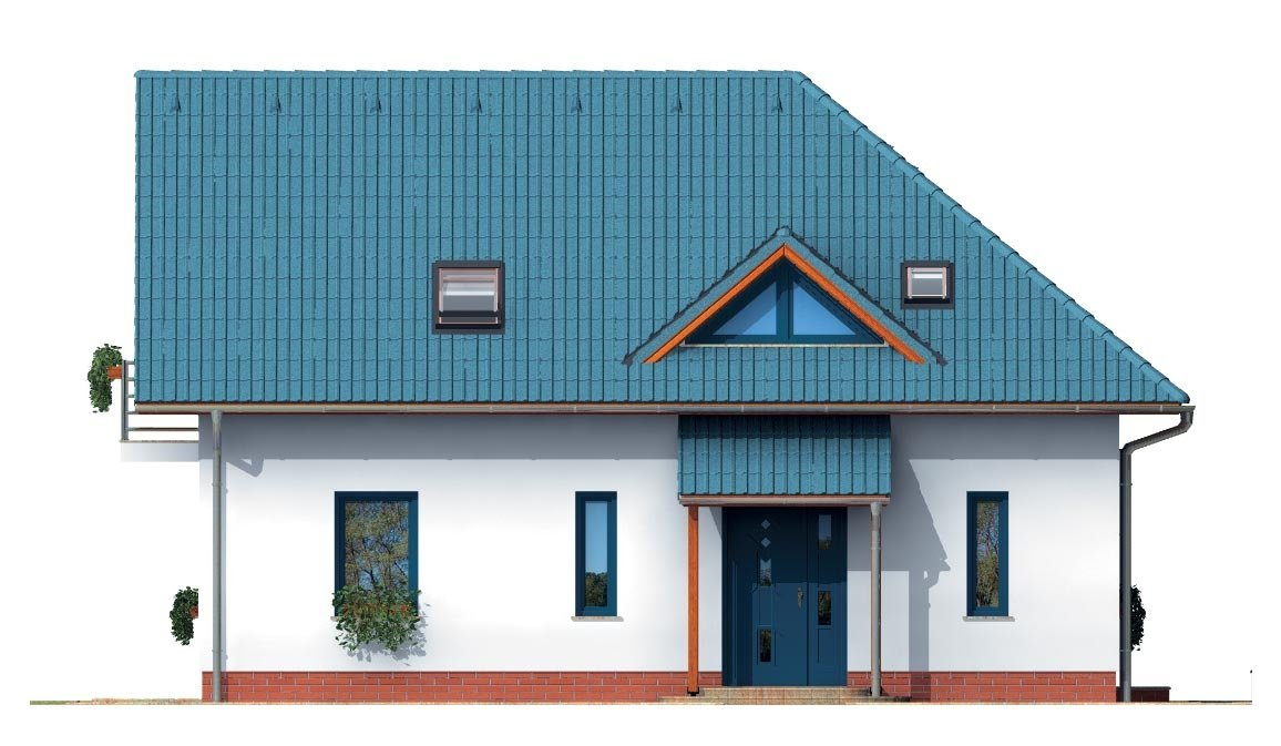 Pohľad 3. - Poschodový dom do tvaru L so sedlovými strechami