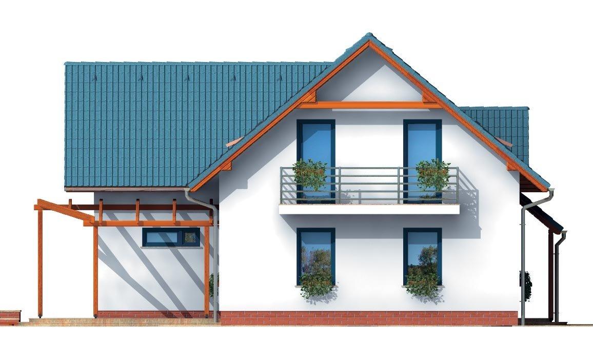 Pohľad 4. - Poschodový dom do tvaru L so sedlovými strechami