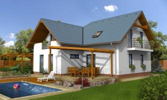 Poschodový dom do tvaru L so sedlovými strechami.