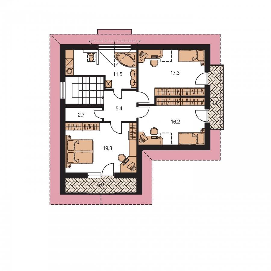 Pôdorys Poschodia - Poschodový dom do tvaru L so sedlovými strechami