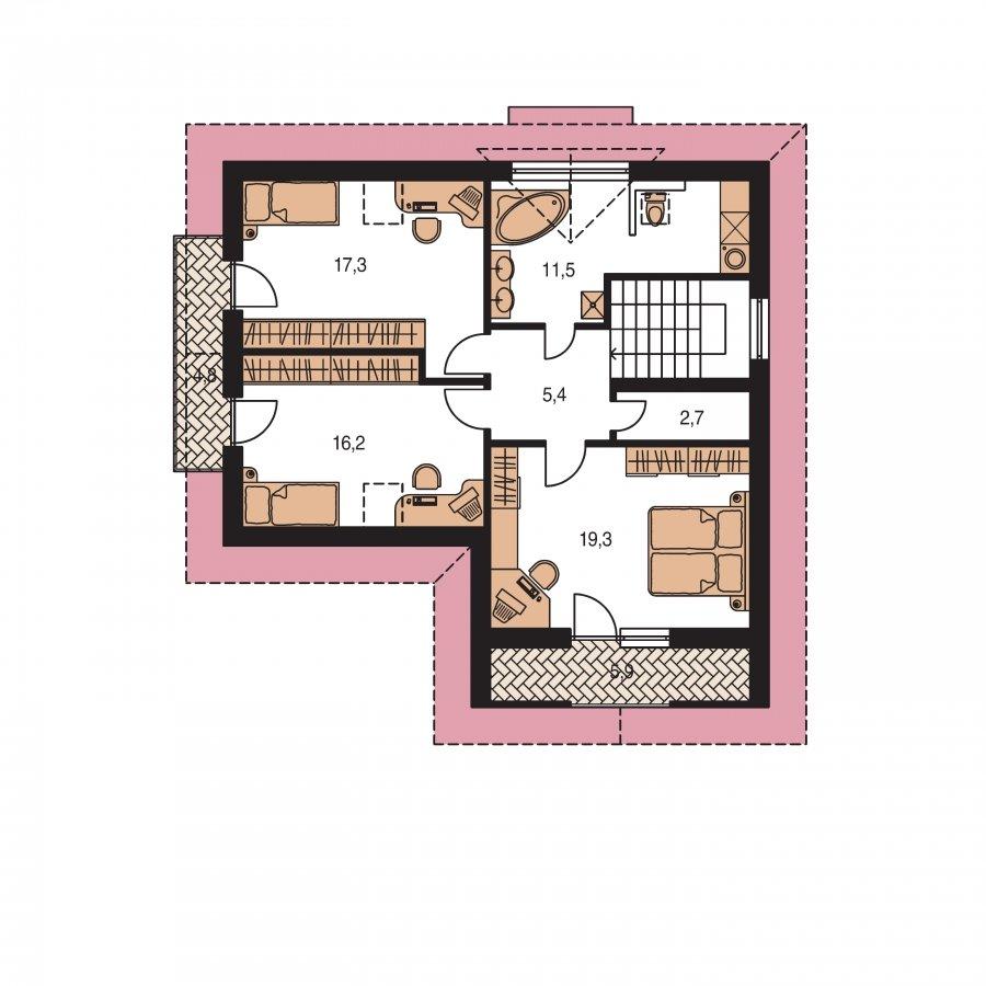 Pôdorys Poschodia - Poschodový dom do tvaru L