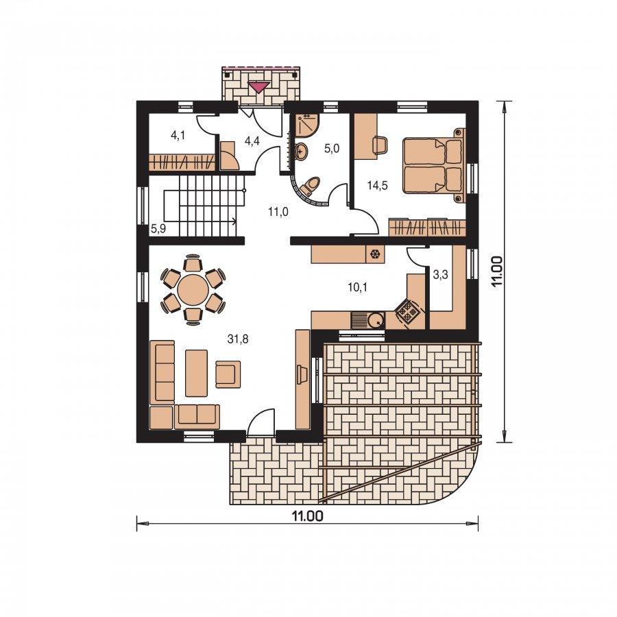 Pôdorys Prízemia - Poschodový dom do tvaru L so sedlovými strechami