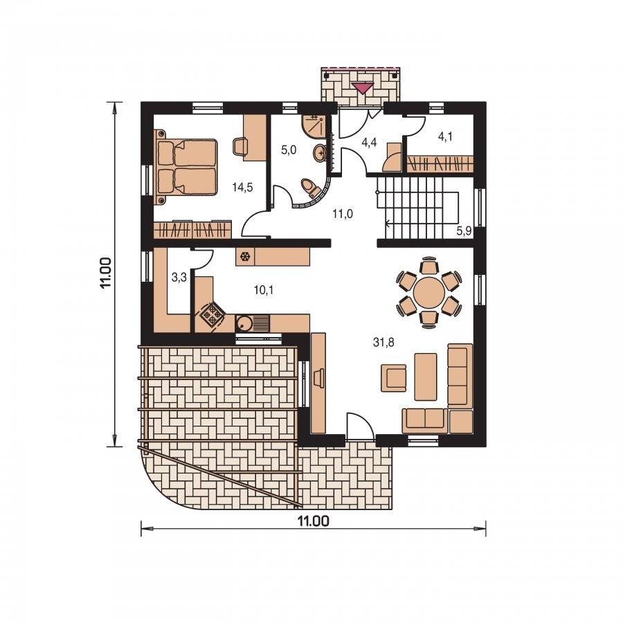 Pôdorys Prízemia - Poschodový dom do tvaru L