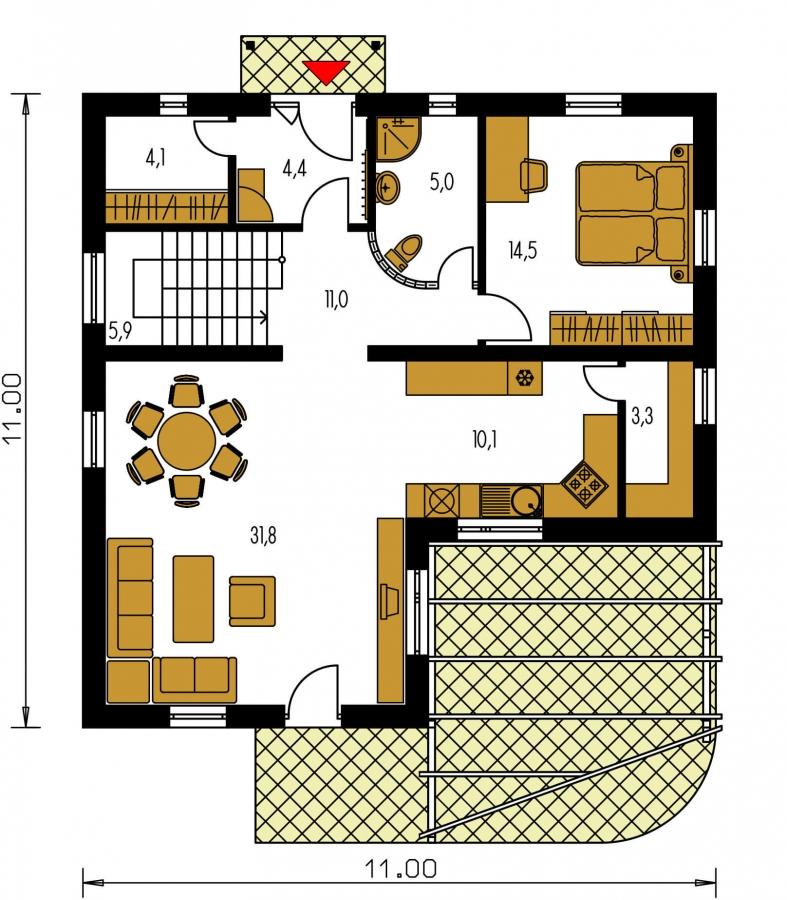 Pôdorys Prízemia - Poschodový dom do tvaru L so sedlovými strechami.