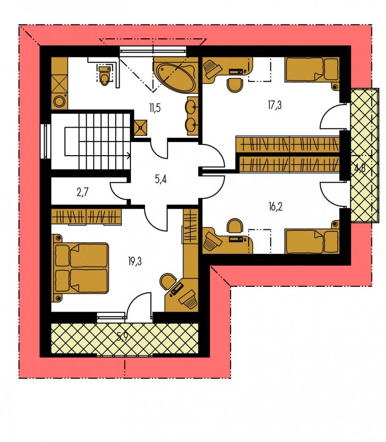 Pôdorys Poschodia - Poschodový dom do tvaru L so sedlovými strechami.
