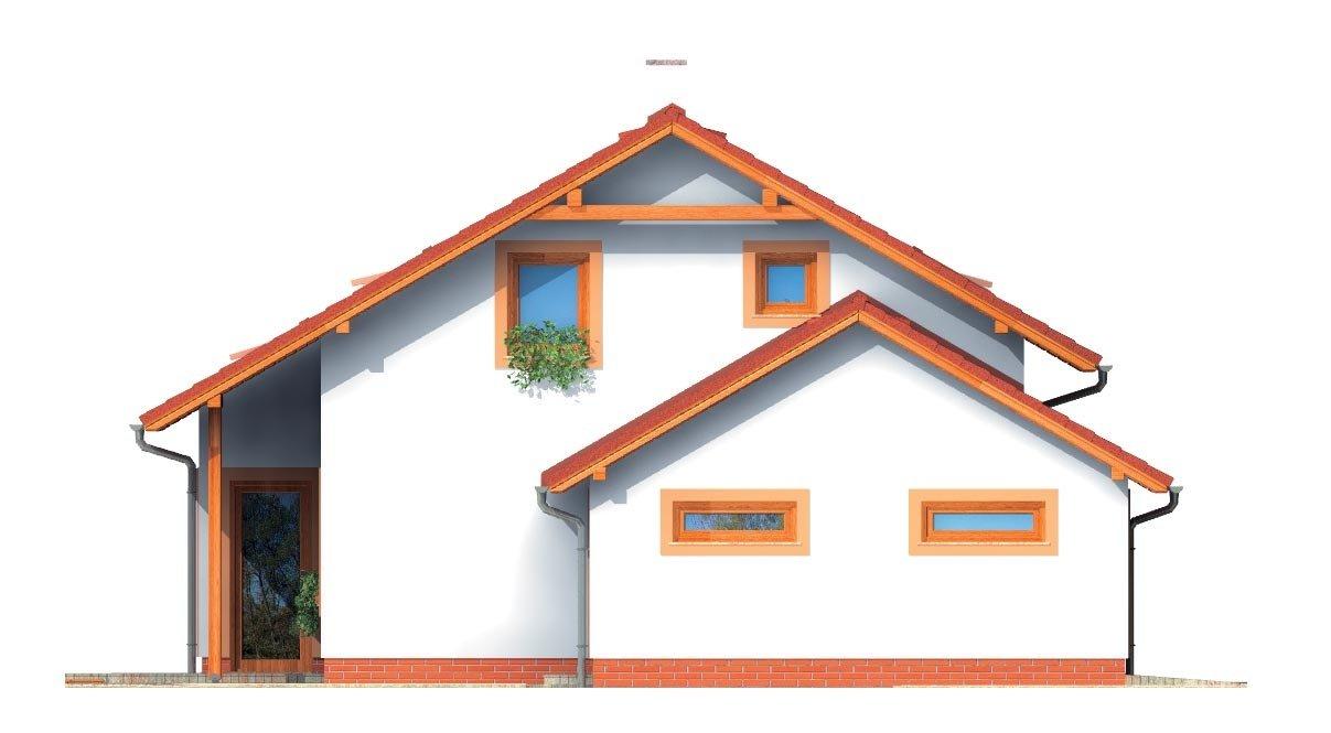 Pohľad 2. - Dom s presvetlenou obývačkou a s garážou.