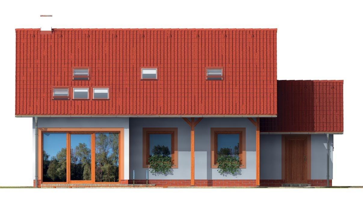 Pohľad 3. - Dom s presvetlenou obývačkou a s garážou.