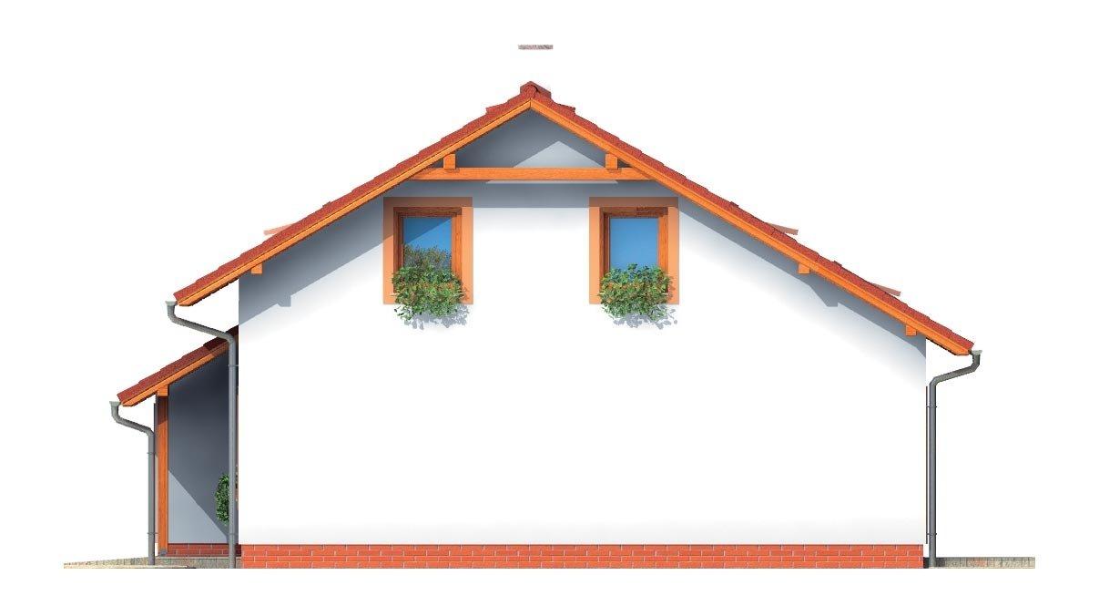 Pohľad 4. - Dom s presvetlenou obývačkou a s garážou.