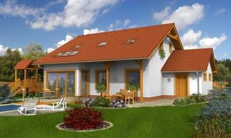Dom s presvetlenou obývačkou a s garážou.