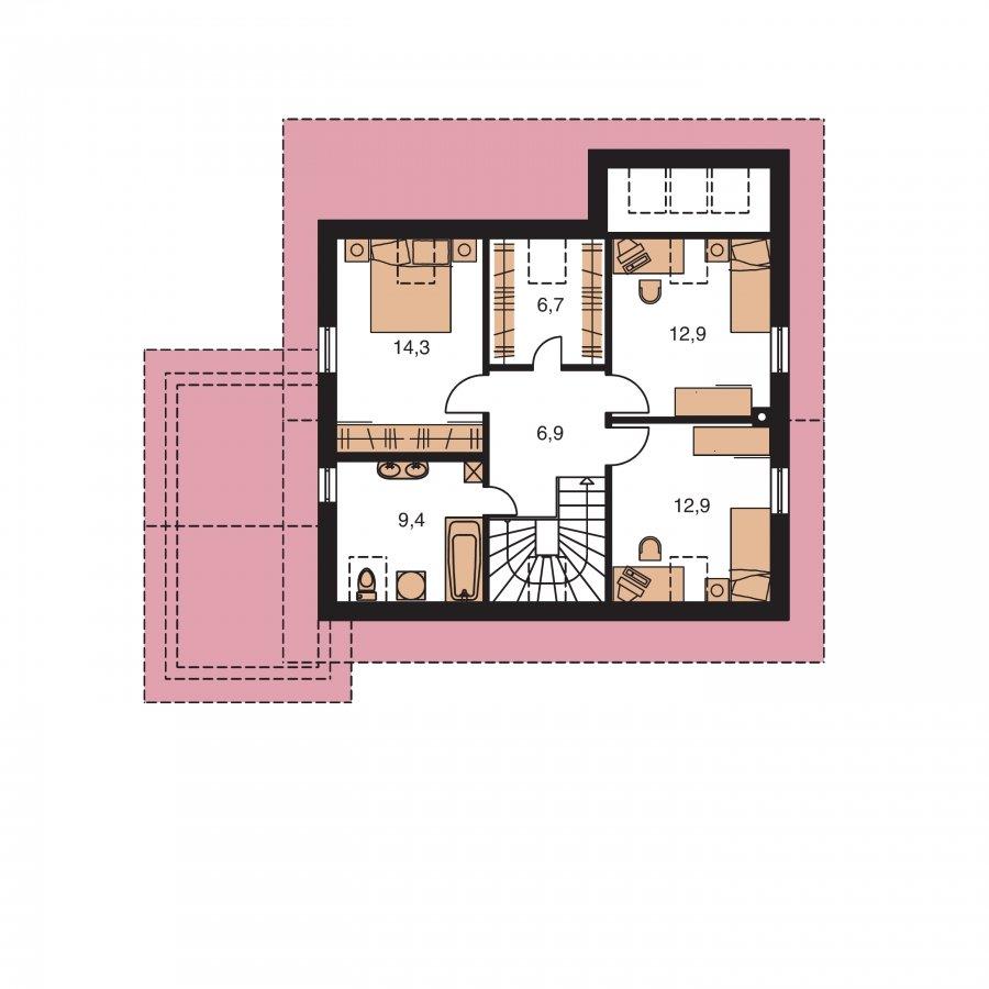 Pôdorys Poschodia - Dom s presvetlenou obývačkou a garážou