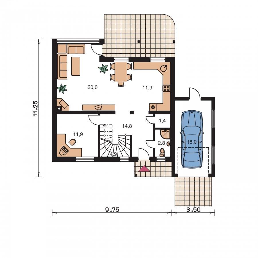 Pôdorys Prízemia - Dom s presvetlenou obývačkou a garážou