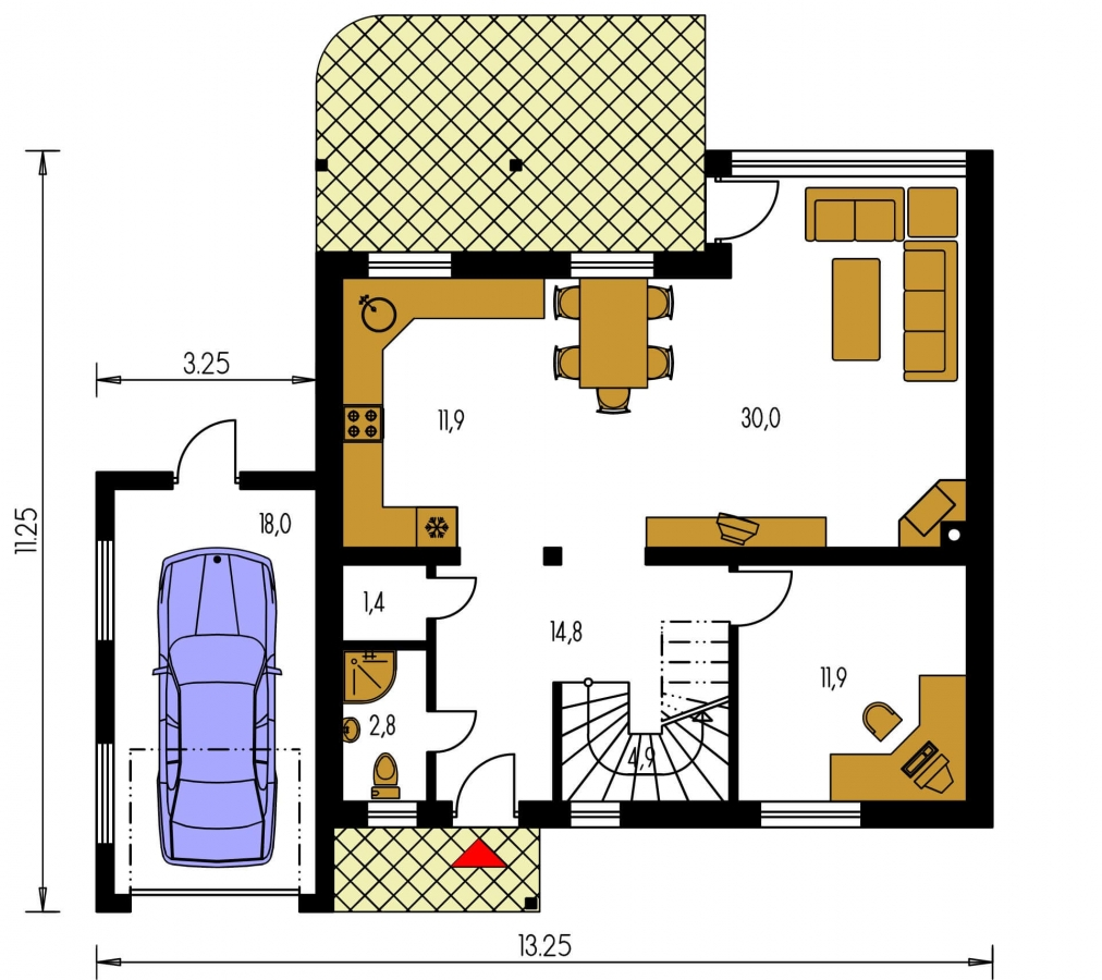 Pôdorys Prízemia - Dom s presvetlenou obývačkou a s garážou.