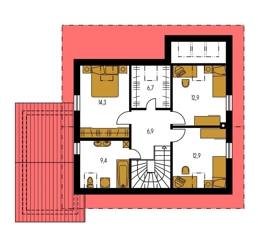 Pôdorys Poschodia - Dom s presvetlenou obývačkou a s garážou.
