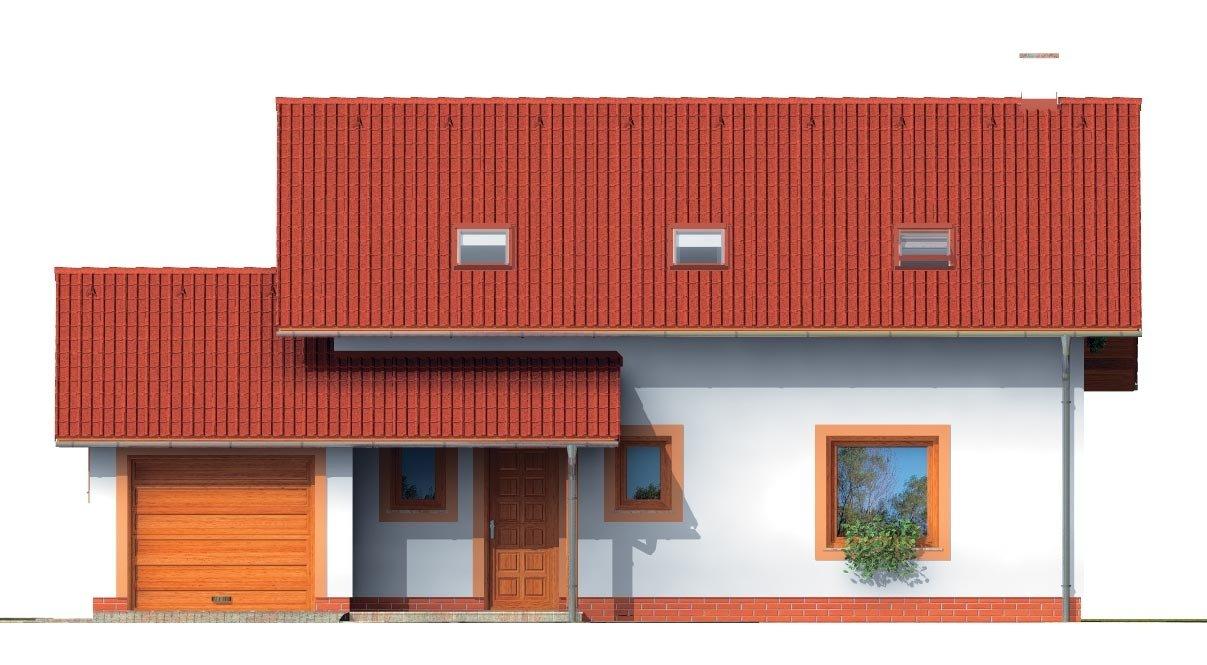 Pohľad 1. - Dom s presvetlenou obývačkou a s garážou.