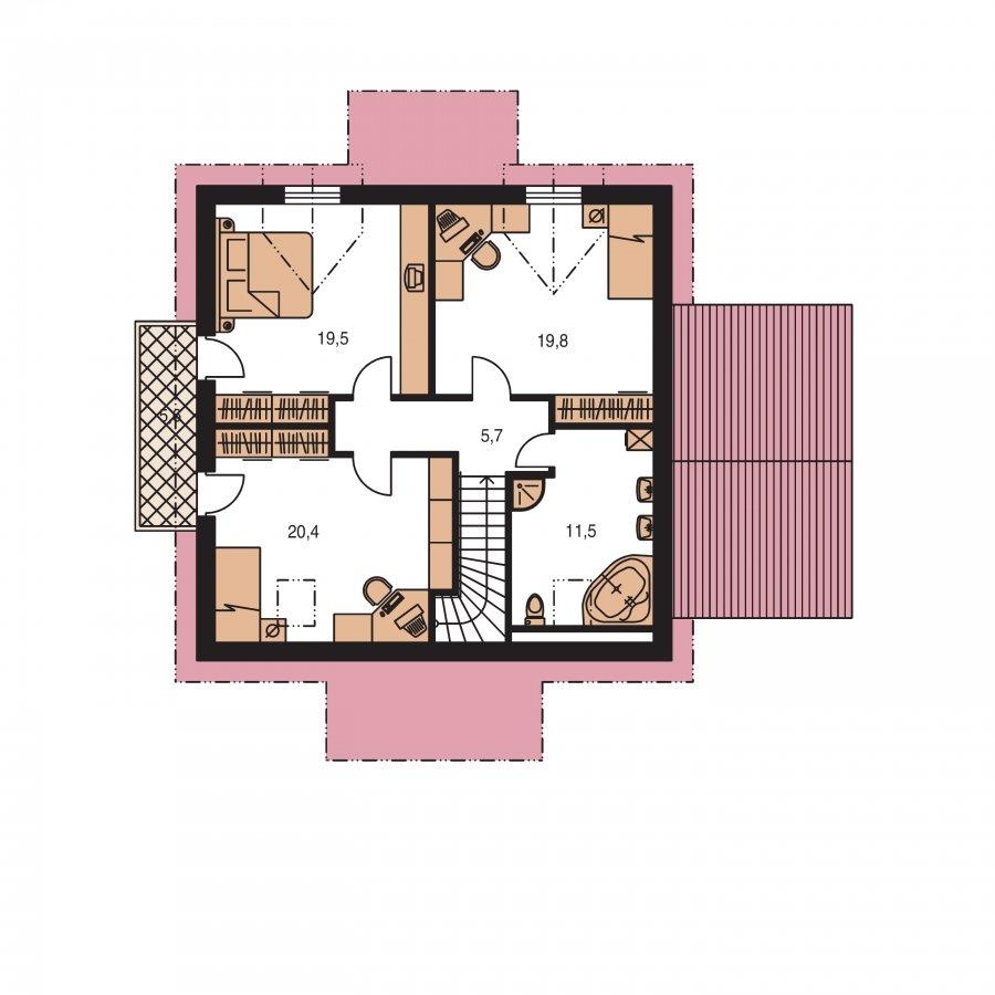 Pôdorys Poschodia - Projekt domu vhodný na dvojdom