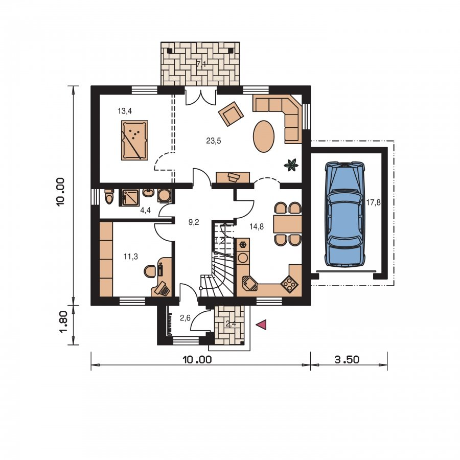 Pôdorys Prízemia - Projekt domu vhodný na dvojdom