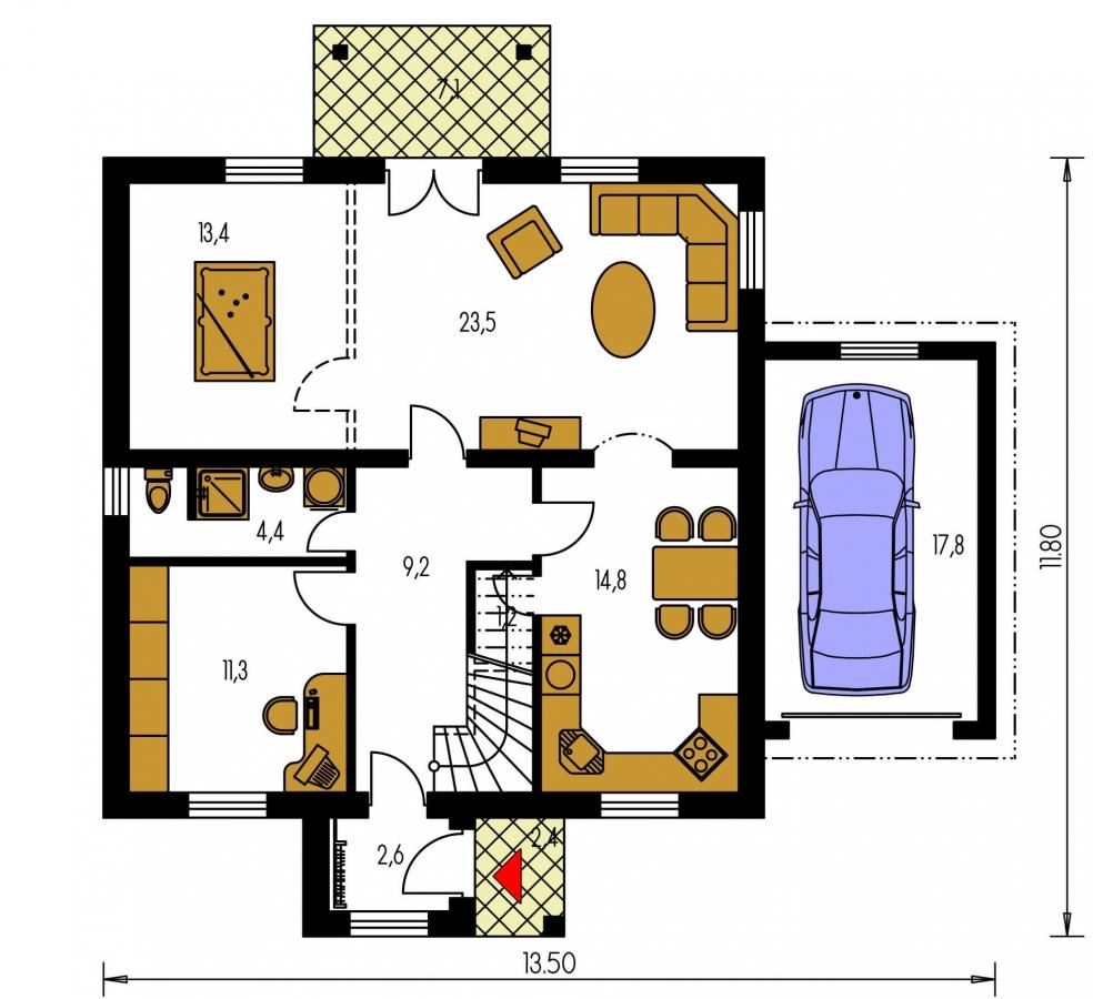 Pôdorys Prízemia - Projekt domu vhodný na dvojdom. Je možné ho realizovať bez garáže.