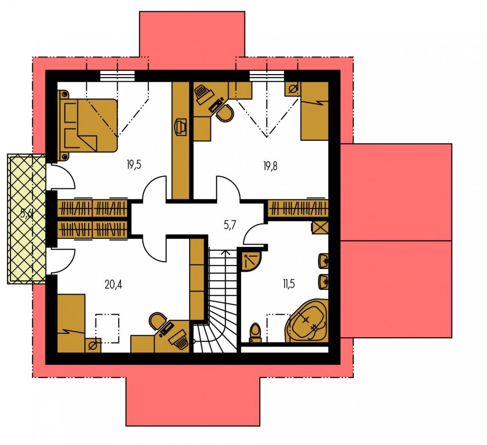 Pôdorys Poschodia - Projekt domu vhodný na dvojdom. Je možné ho realizovať bez garáže.