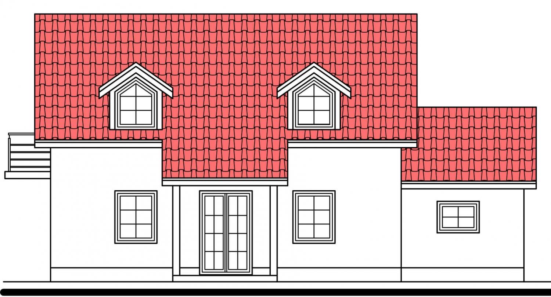 Pohľad 1. - Projekt domu vhodný na dvojdom. Je možné ho realizovať bez garáže.