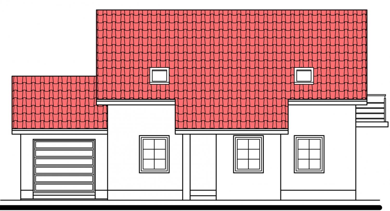 Pohľad 3. - Projekt domu vhodný na dvojdom. Je možné ho realizovať bez garáže.
