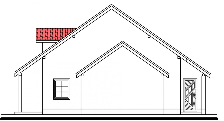Pohľad 4. - Projekt domu vhodný na dvojdom. Je možné ho realizovať bez garáže.