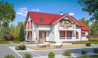 Zaujímavý dom pre väčšiu rodinu s garážou a izbou na prízemí.