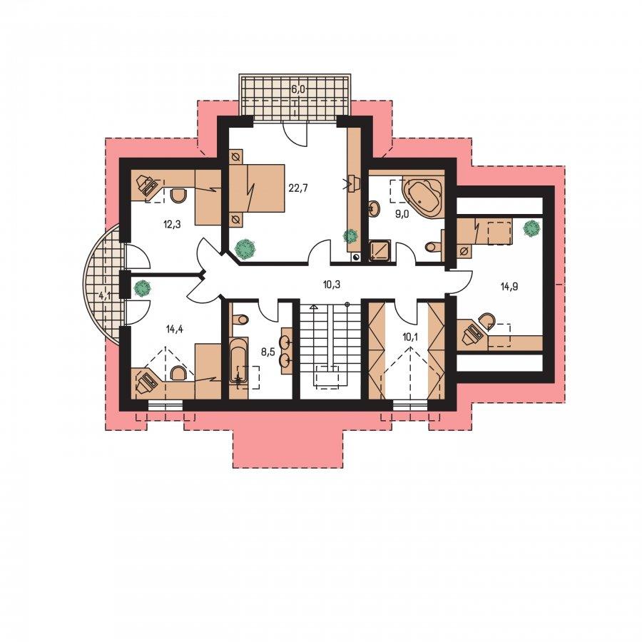 Pôdorys Poschodia - Zaujímavý dom pre väčšiu rodinku