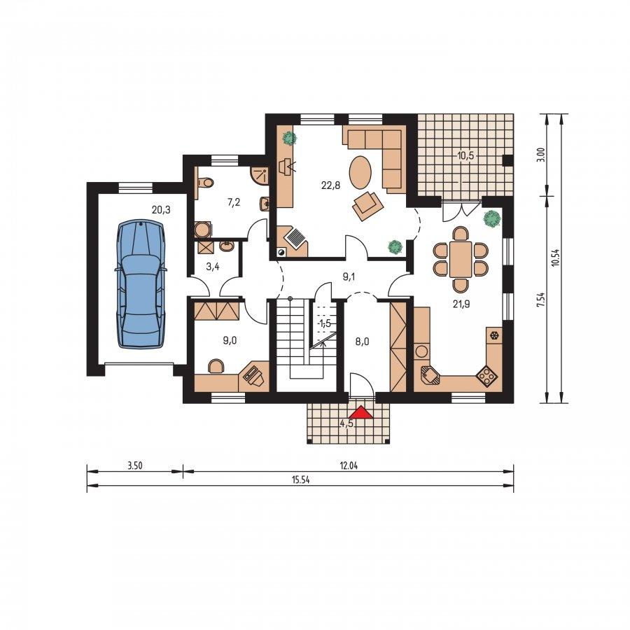Pôdorys Prízemia - Zaujímavý dom pre väčšiu rodinku