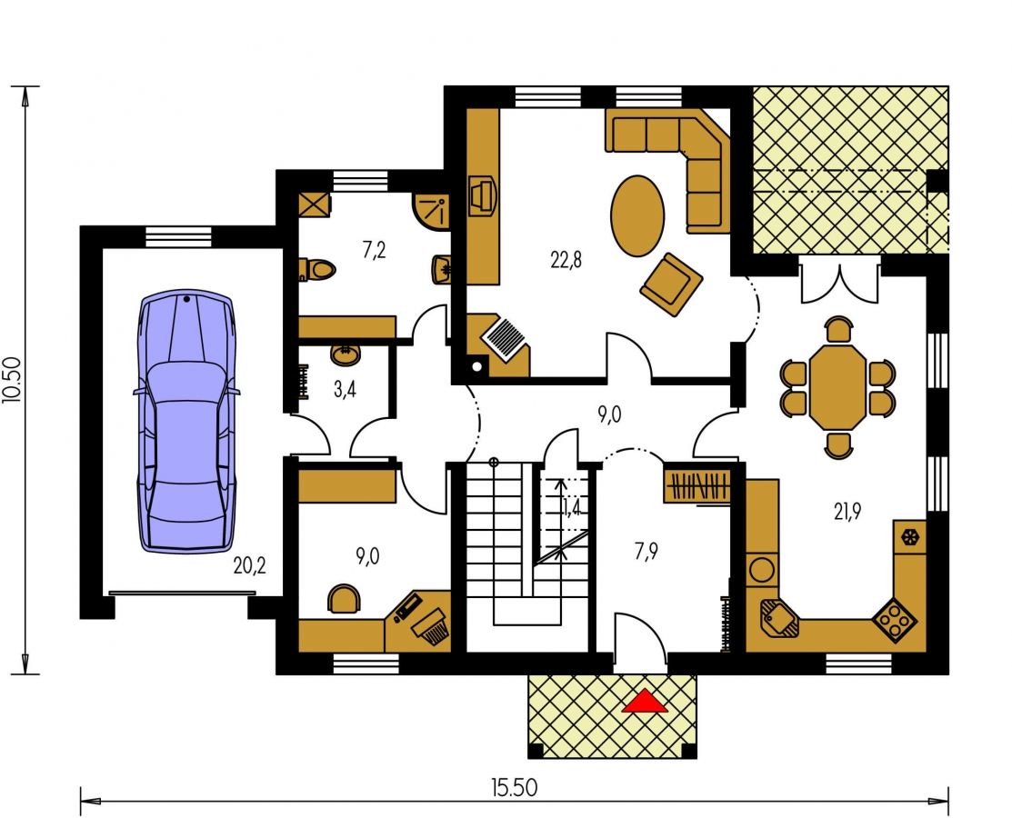Pôdorys Prízemia - Zaujímavý dom pre väčšiu rodinu s garážou a izbou na prízemí.