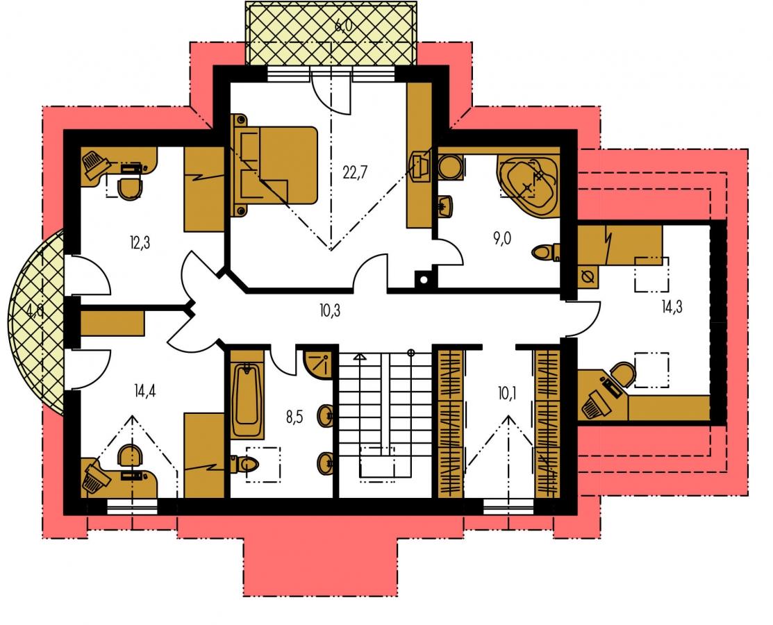 Pôdorys Poschodia - Zaujímavý dom pre väčšiu rodinu s garážou a izbou na prízemí.